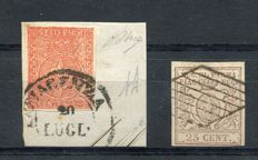 Parma 1859 - 15 cent vermilion on fragment and 25 cent lilac-brown - Sass. No.  7 and 10