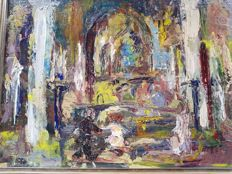Unknown (1st half of the 20th century) - Expressionistisch kerkinterieur met figuren