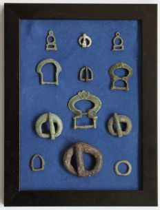 Ancient Roman & Byzantine Empire bronze,silver & iron buckles in frame - 11 mm / 40 mm (12)