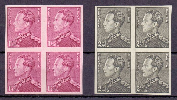 Belgium 1936/1940 - 2 imperforated blocks of 4 of the de Poortman-stamps - OBP 429 and 530