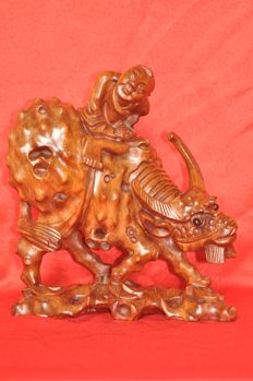 A wooden statue - China - mid 20th century