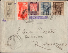Italian Colonies 1926 - Libya and Tripolitania - Registered letter fro Pavia, identical values