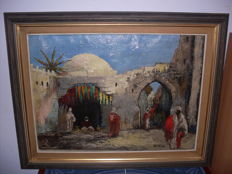 Oil on canvas by Keiman - mid 20th century (85cm)