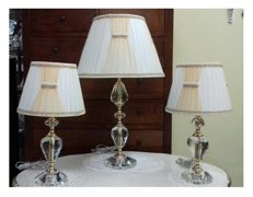 Table lamps trio in solid crystal with 31% lead content and pleated lampshades - Italy