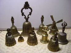 A collection of 10 table bells