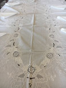 Finely handcrafted pure linen tablecloth