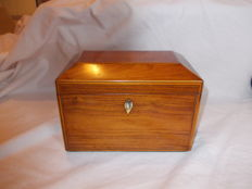 Rosewood tea caddy with boxwood stringing - English - Early 19th century