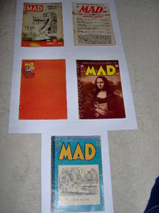 "MAD - E.C. Comics (US) - #11 + #12 + #13 +  #14 - #15 - Golden Age ""Tales calculated to drive you MAD"" - 5x SC - (1954)"