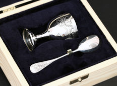 Set of egg cup with spoon, Pierre Bezon 1913, France