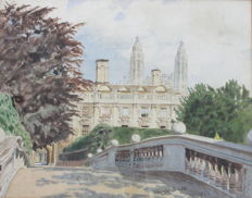Hugh Buss (1894-1979) - View of Clare College, Cambridge, as Seen from Clare Bridge
