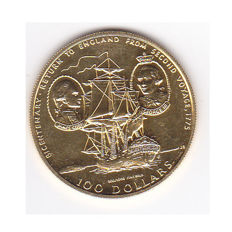 """Cook Islands - $100, 1975 - """"Return to England"""" - Gold"""