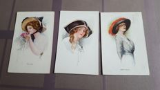 Autographed art nouveau ladies postcards with various hats, etc from well known artists and publishers 33 x