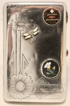 Russian silver cigarette case with dragonfly, Moscow, 1908-1917