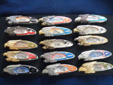 Collection of 15 beautiful Harley-Davidson knives by Franklin Mint