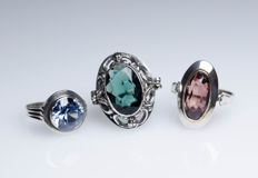 3 antique silver rings with stones
