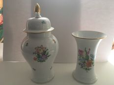 Herend porcelain lidded vase and vase