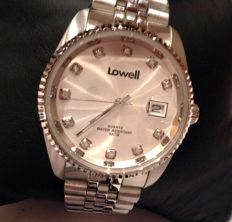 DAY DATE 2006 - IP steel with white sapphires, by LOWELL Italy - NEW