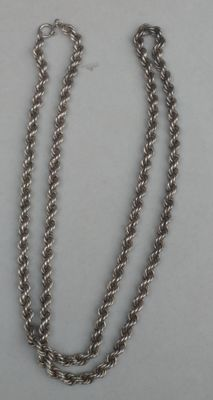 Long, silver necklace with rope links
