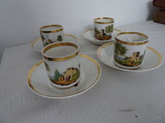 4 French porcelain cups and saucers with landscape decor