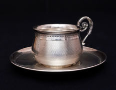 Silver cup and saucer, France, late 19th and early 20th century