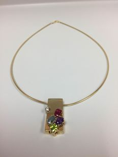 14 Kt Elegance Omega Chain with Diamond, Ruby Topaz, Amethyst, Peridot 4.05 ct. LOW RESERVED
