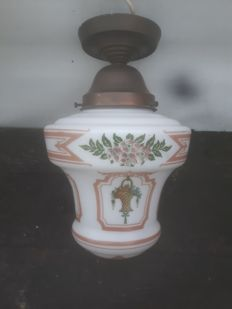 Very nice hallway lamp with painted flower baskets