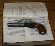 Book with secret containing a punch pistol of the 19th century