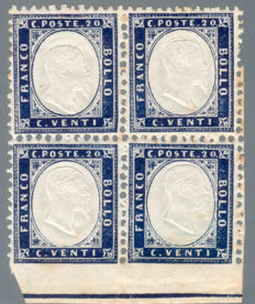Italy, Kingdom, 1862 – 20 cent indigo, block of four, not perforated on the bottom – Sass. No. 2 + 2l.