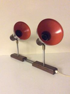 Designer unknown - Sixties wall light, 2 x chrome spotlight on wenge wooden frame
