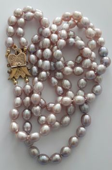 Double necklace of natural colour fresh water pearls with an antique 14 kt gold clasp +/- 1850