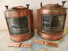 Uniek set Large Heavy Vintage Copper Navagation Lights  Netherland