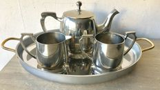 Silver plated Art Deco tea set on oval tray