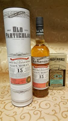 2 bottles - Glen Moray 15 years old (70cl) Old Particular & Auchentoshan 14 years old (20cl) Provenance by Douglas Laing