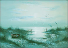 Large framed painting with seascape