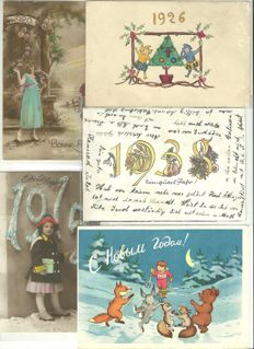Lot of 58 greetings cards - Happy New Year dated 1909/1958