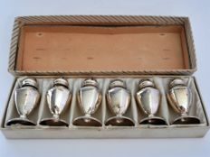 Sterling, six silver salt cellars in box