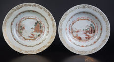 Set of exclusive porcelain famille rose plates - China - 18th century