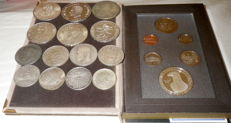 World - Lot of 14 silver coins & set of 6 USA coins in velvet case - including silver