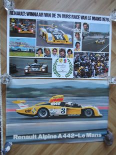 2 original showroom posters - 24 hours of Le Mans 1978 - winner Renault A 442 -