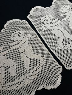 Two decorative cloths with angels made with filet crochet embroidery Suitable for curtains, pillows and bedspreads Italy. c. 1960s/70s