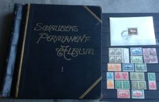Schaubek permanent album from early 1870 to 1925 - 2 sides with stamps German colonies with marked stamps and the rest
