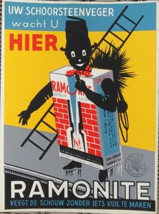 Cardboard advertising sign - Ramonite chimney sweep - 1950s