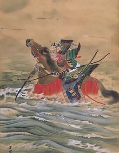 'Samurai on horse in battle' by Gyokusui 玉翠 detailed handpainted hanging scroll on cloth - Japan - first half 20th century