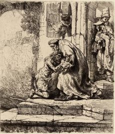 After Rembrandt van Rijn, by L. Eudea, The prodigal son 1885