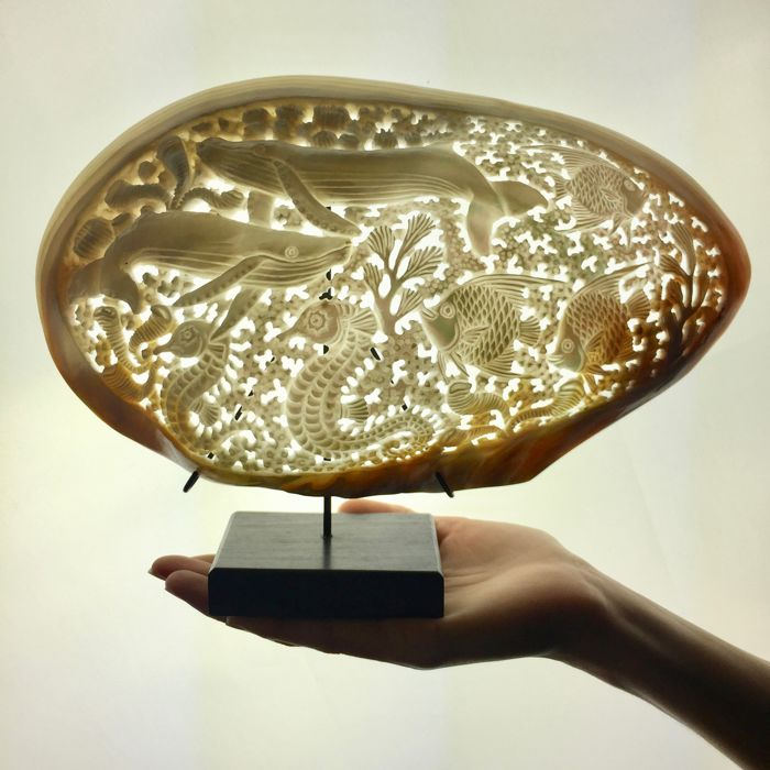 Large engraved, freshwater Mother of Pearl Mussel shell on stand - Indonesia -21st century (29 x 22cm)