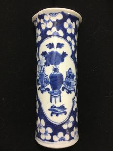 Vase in blue white with precious objects - China - late  19th century