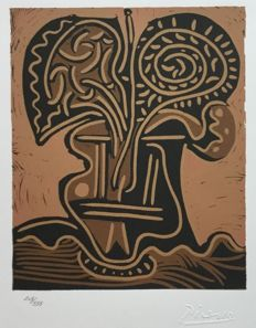 Pablo Picasso (after) - African mask - Linocut
