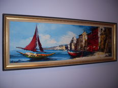 Boats on Shore. Original Vintage Oil Painting. Signed. 111 x 41 cm.
