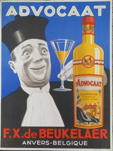 Cardboard advertising sign - Advocaat F.X. De Beukelaer Antwerp - late 1930s