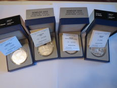 "France - 10 Euro 2013-2016 ""Semuese"" in cases (4 pieces) - silver"
